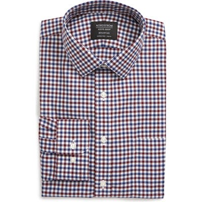 Nordstrom Shop Smartcare(TM) Trim Fit Check Dress Shirt - Burgundy