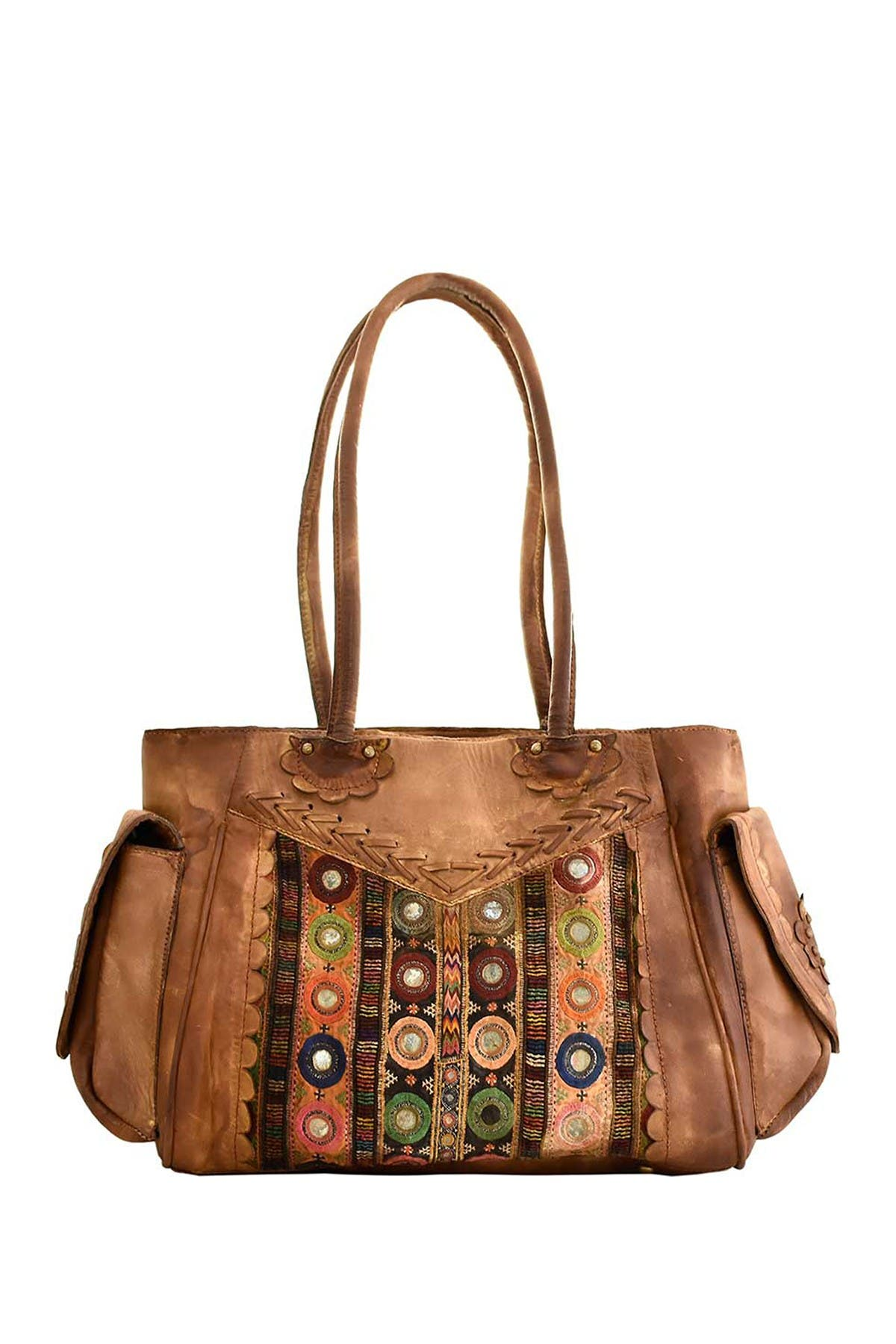 Image of Vintage Addiction Dyed Leather & Vintage Fabrics Satchel