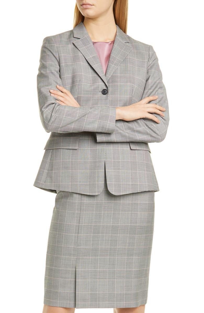 BOSS Jatinda Glen Check Wool Suit Jacket, Main, color, PETAL FANTASY