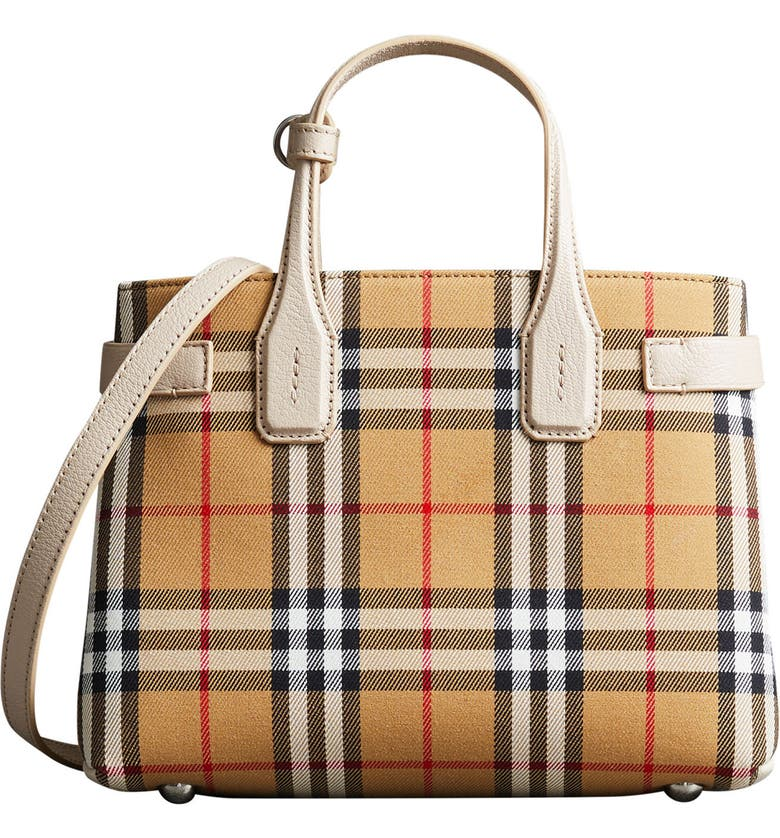 Burberry Small Banner Vintage Check Leather Tote