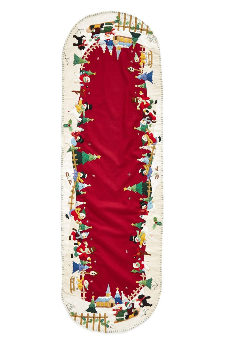 NEW WORLD ARTS Large Snowman Village Table Runner, Main, color, RED