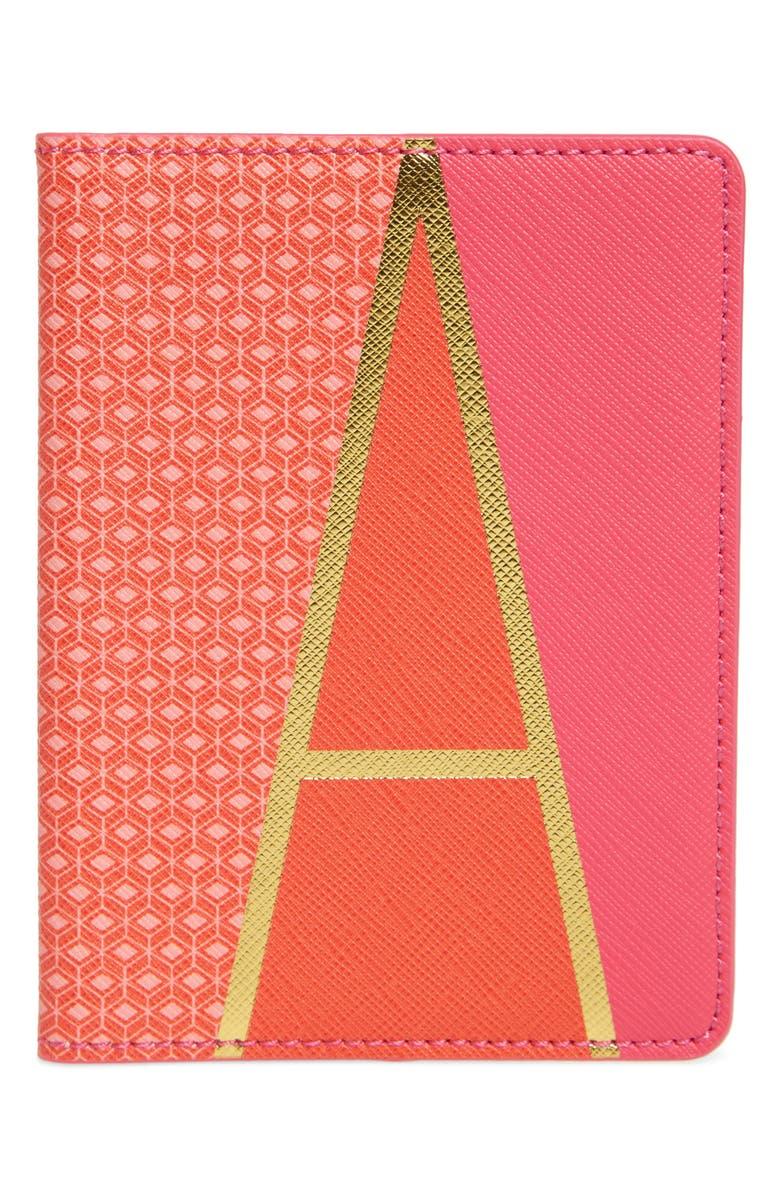 ANTHROPOLOGIE Monogram Passport Cover, Main, color, A