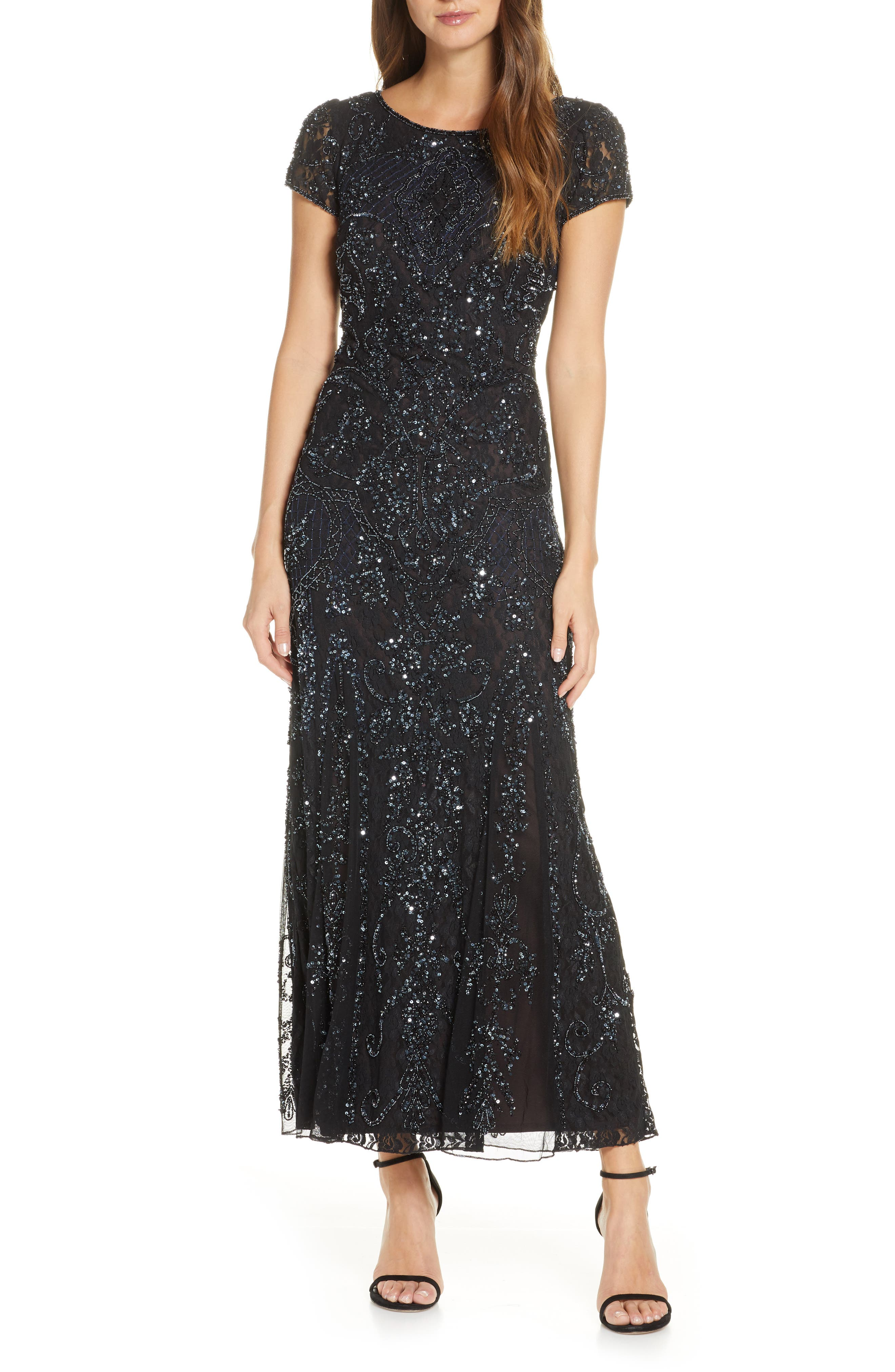 Art Deco Dresses | Art Deco Fashion, Clothing Womens Pisarro Nights Embellished Lace Gown Size 2 - Black $238.00 AT vintagedancer.com