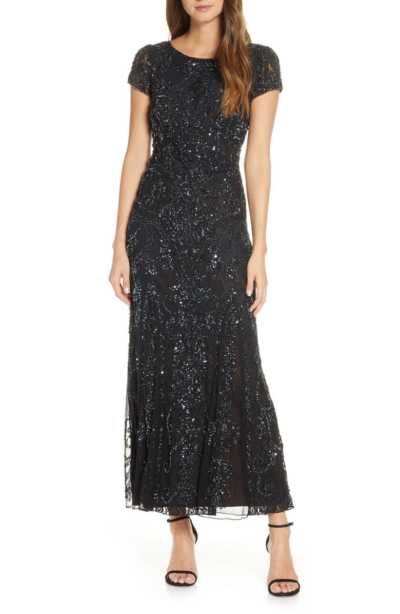 PISARRO NIGHTS Embellished Lace Gown, Main, color, 006