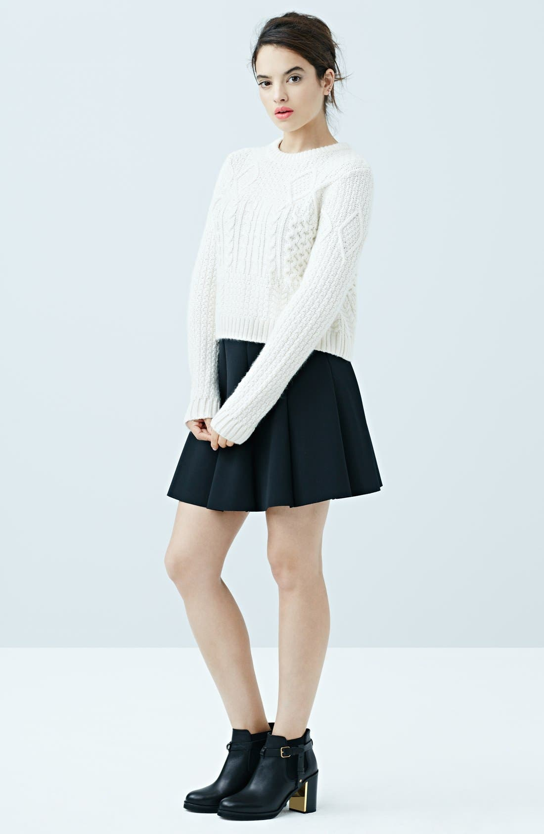 ,                             Pleated Scuba Skirt,                             Alternate thumbnail 6, color,                             001