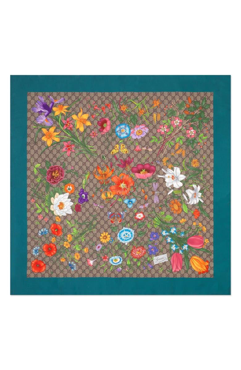 GUCCI GG Flora Fluorescent Border Silk Scarf, Main, color, BEIGE/ SKY BLUE