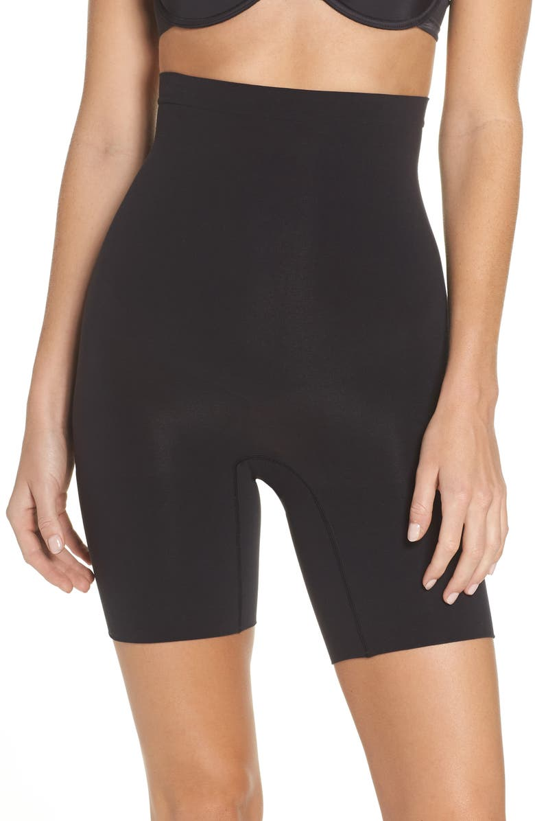 SPANX<SUP>®</SUP> Higher Power Mid-Thigh Shaping Shorts, Main, color, VERY BLACK