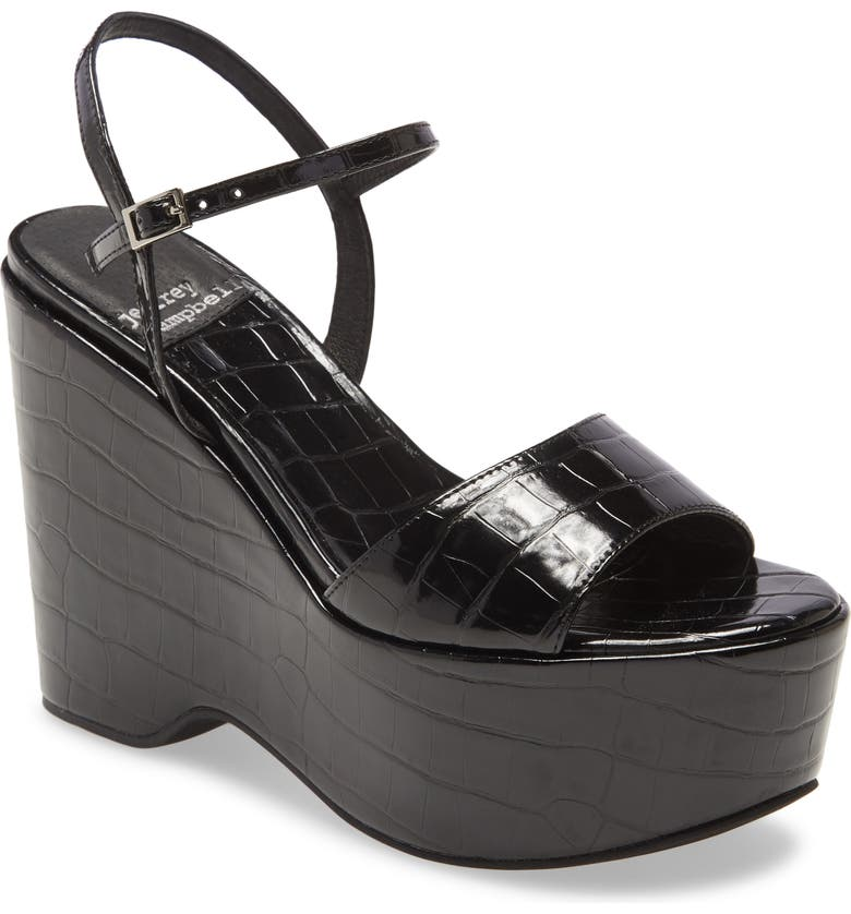 JEFFREY CAMPBELL Anamaria Platform Wedge Sandal, Main, color, BLACK CROCO PATENT