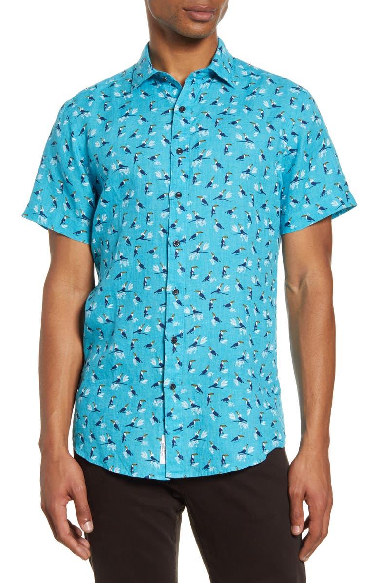 RODD & GUNN Anatori Regular Fit Short Sleeve Linen Button-Up Shirt, Main, color, 436