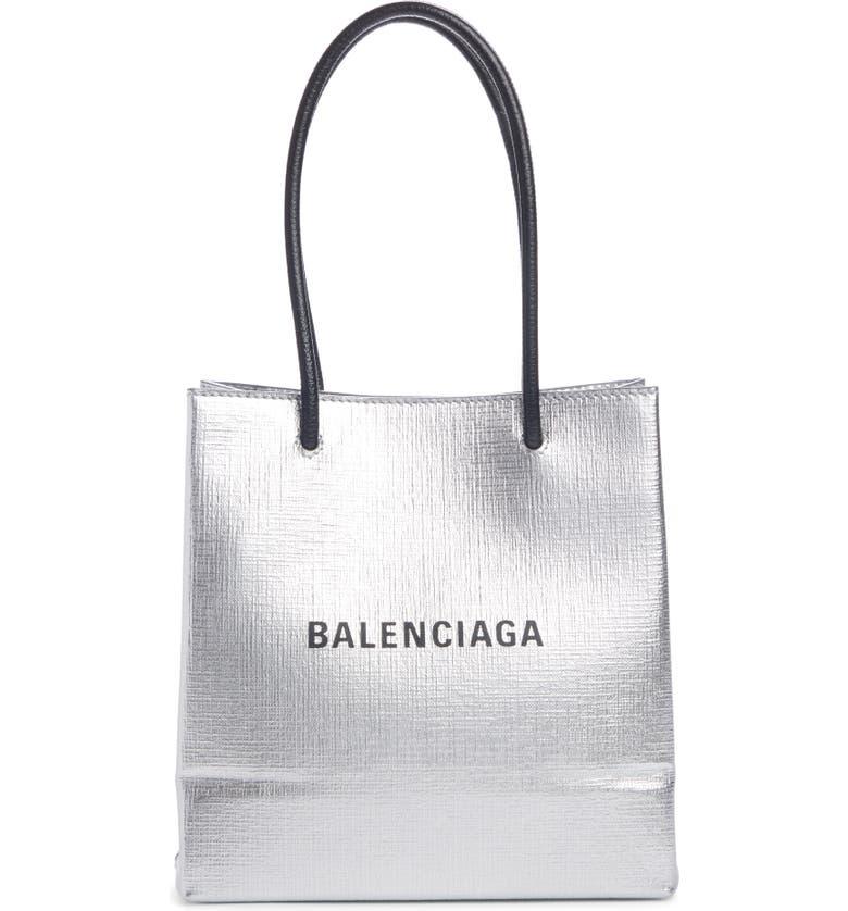 BALENCIAGA Extra Extra Small North/South Metallic Calfskin Shopper Tote, Main, color, MAT SILVER