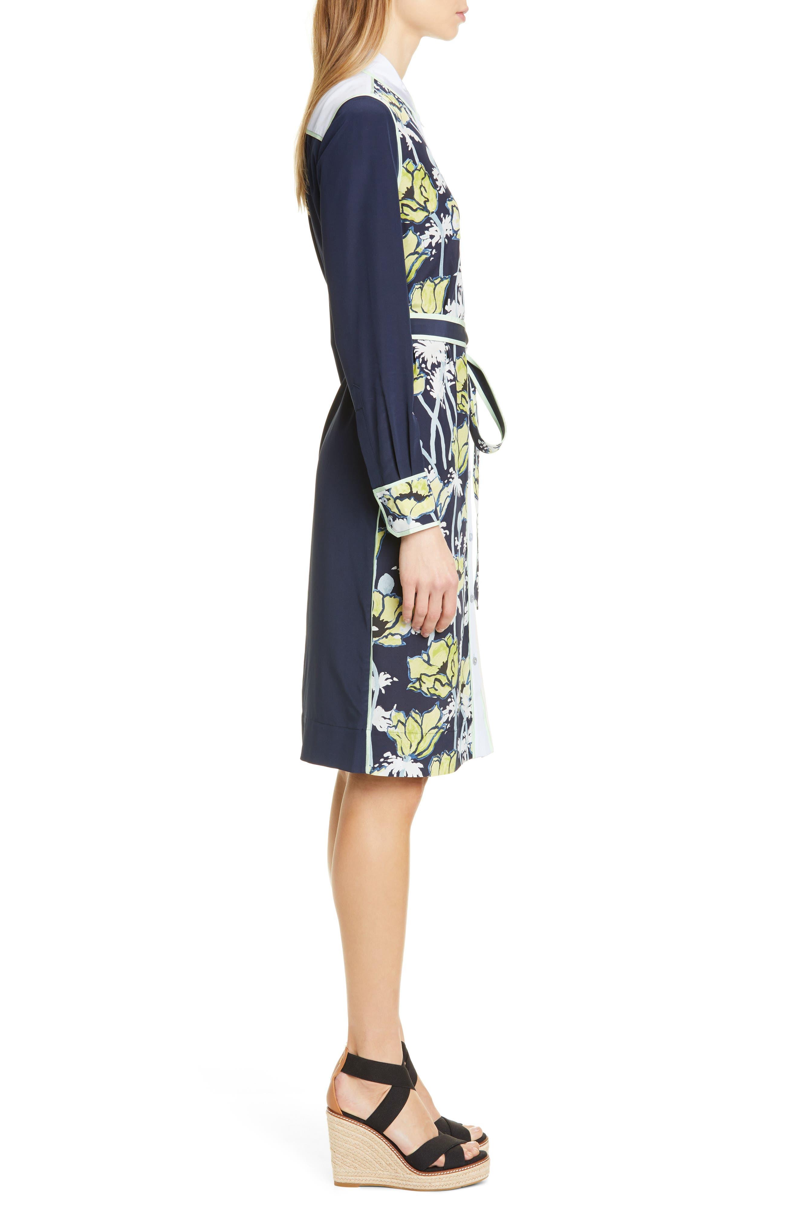 ,                             Silk Patchwork Long Sleeve Dress,                             Alternate thumbnail 3, color,                             NAVY POPPIES BLOOM