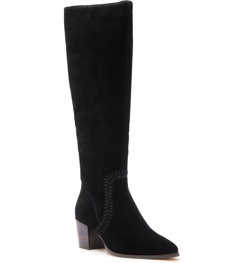 SOLE SOCIETY Alexie Knee High Boot, Main, color, BLACK LEATHER