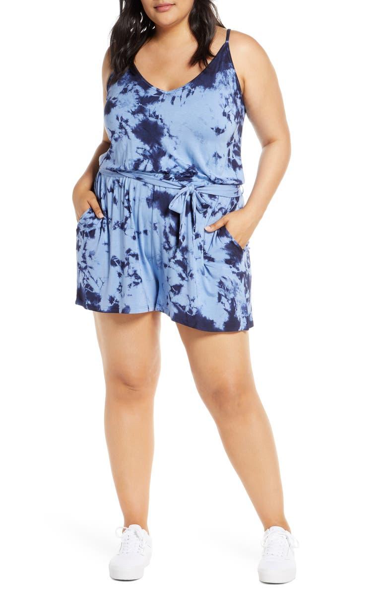 BP. Tie Dye Romper, Main, color, BLUE CORNFLOWER COMBO