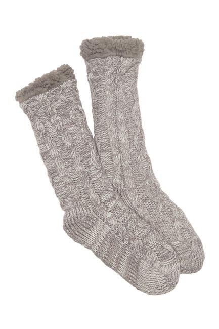 Image of Minx NY Faux Shearling Lined Knit Crew Socks
