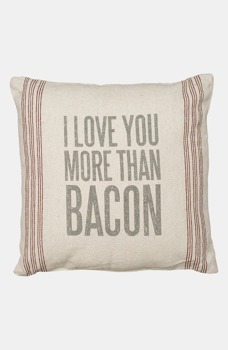 PRIMITIVES BY KATHY 'I Love You More Than Bacon' Pillow, Main, color, 250