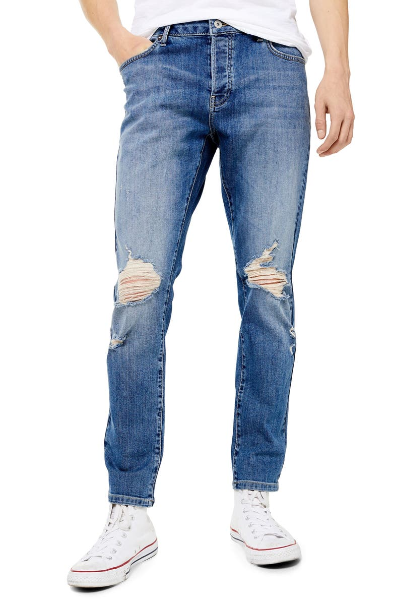 TOPMAN Ripped Stretch Skinny Fit Jeans, Main, color, DARK BLUE