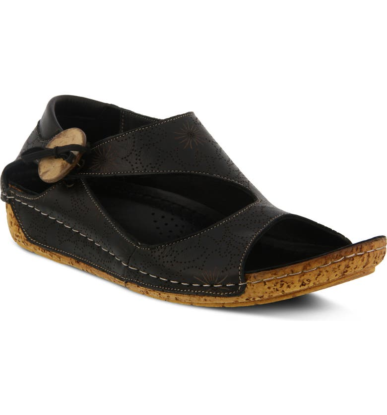 SPRING STEP Lorelle Flat, Main, color, BLACK LEATHER