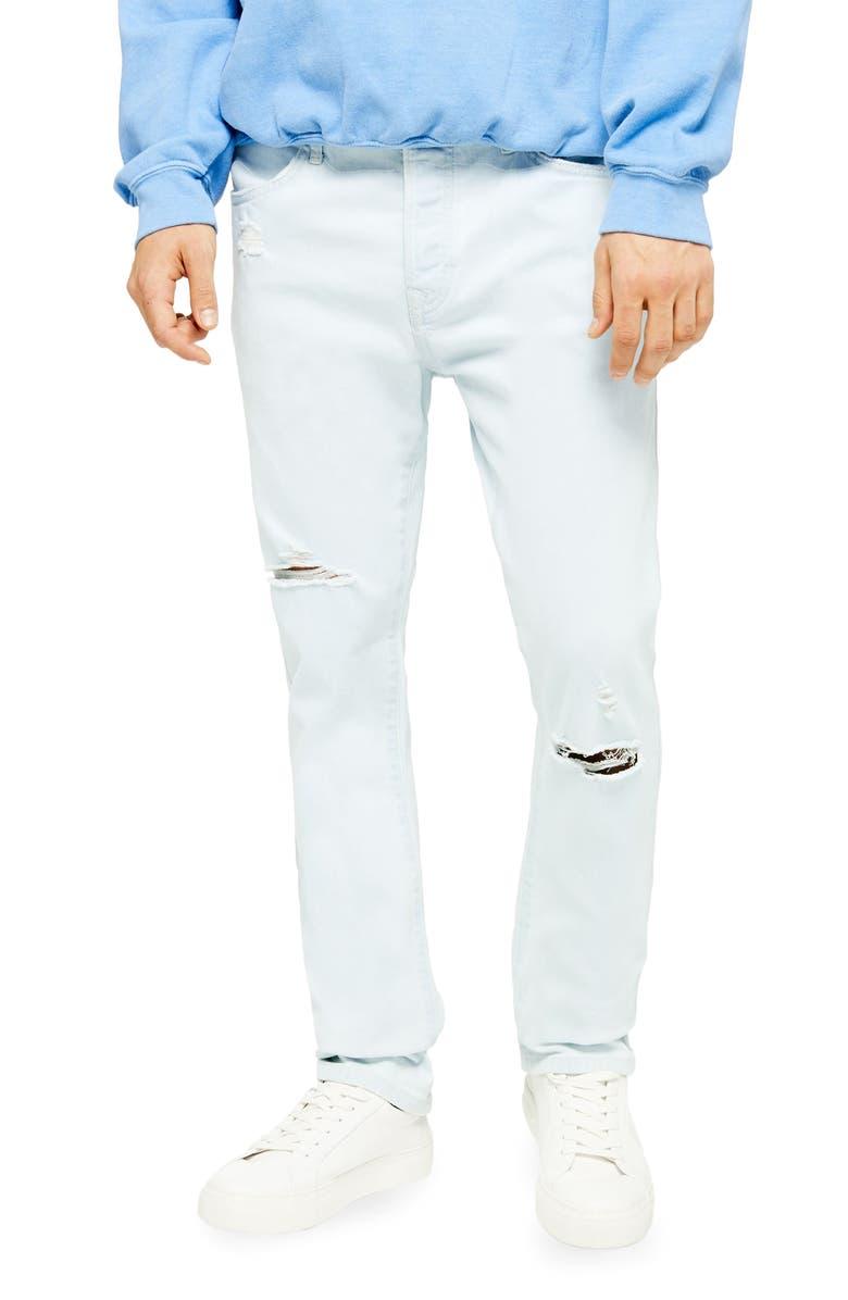 TOPMAN Kai Bleach Slim Fit Ripped Stretch Jeans, Main, color, BLUE