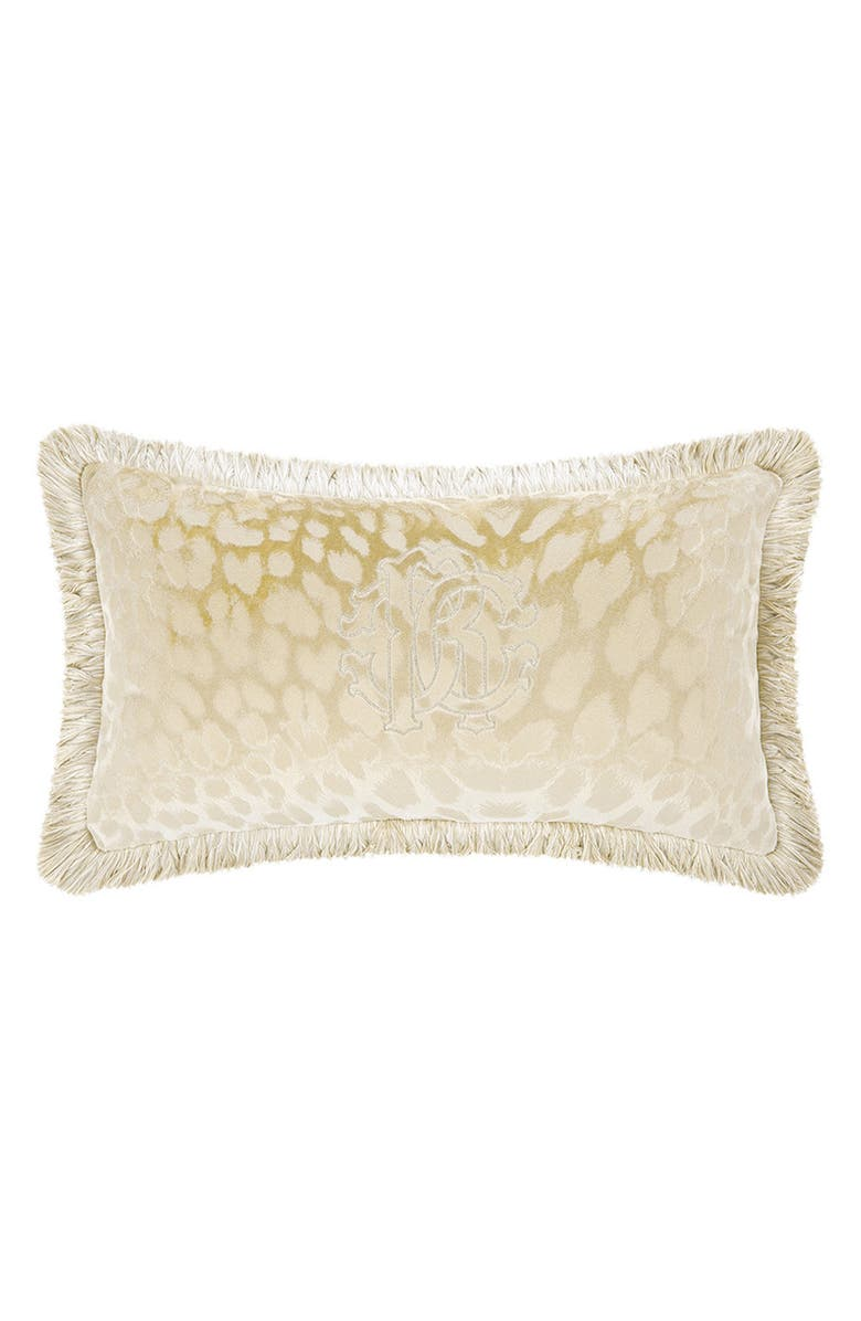 ROBERTO CAVALLI Logo Accent Pillow, Main, color, IVORY