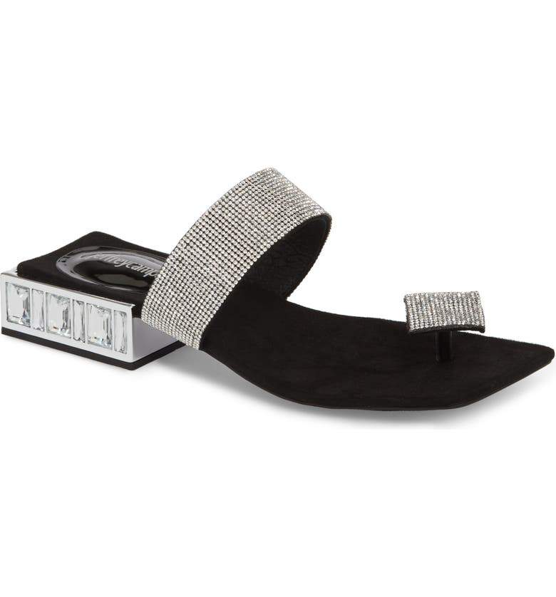 JEFFREY CAMPBELL Alise Embellished Sandal, Main, color, BLACK SUEDE/ SILVER