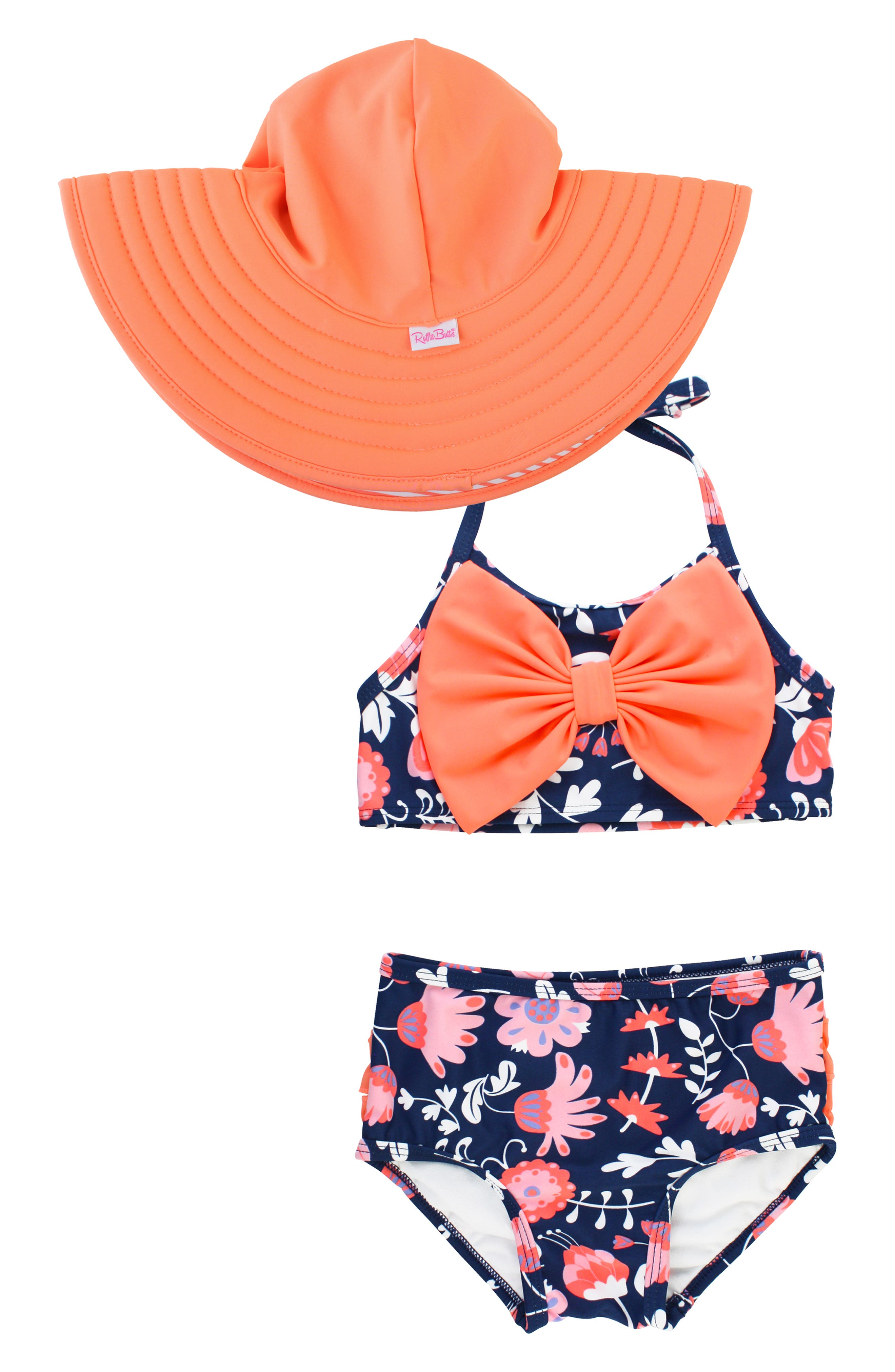 031dc6ab51 Girl's Rufflebutts Botanical Two-Piece Swimsuit & Floppy Sun Hat Set