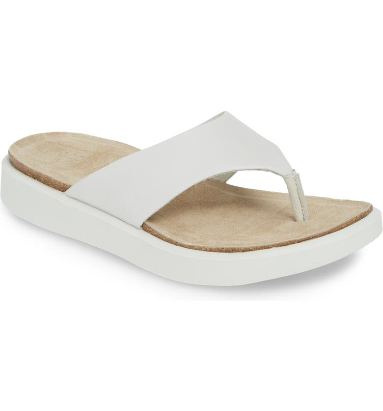 ECCO Corksphere Flip Flop, Main, color, WHITE LEATHER