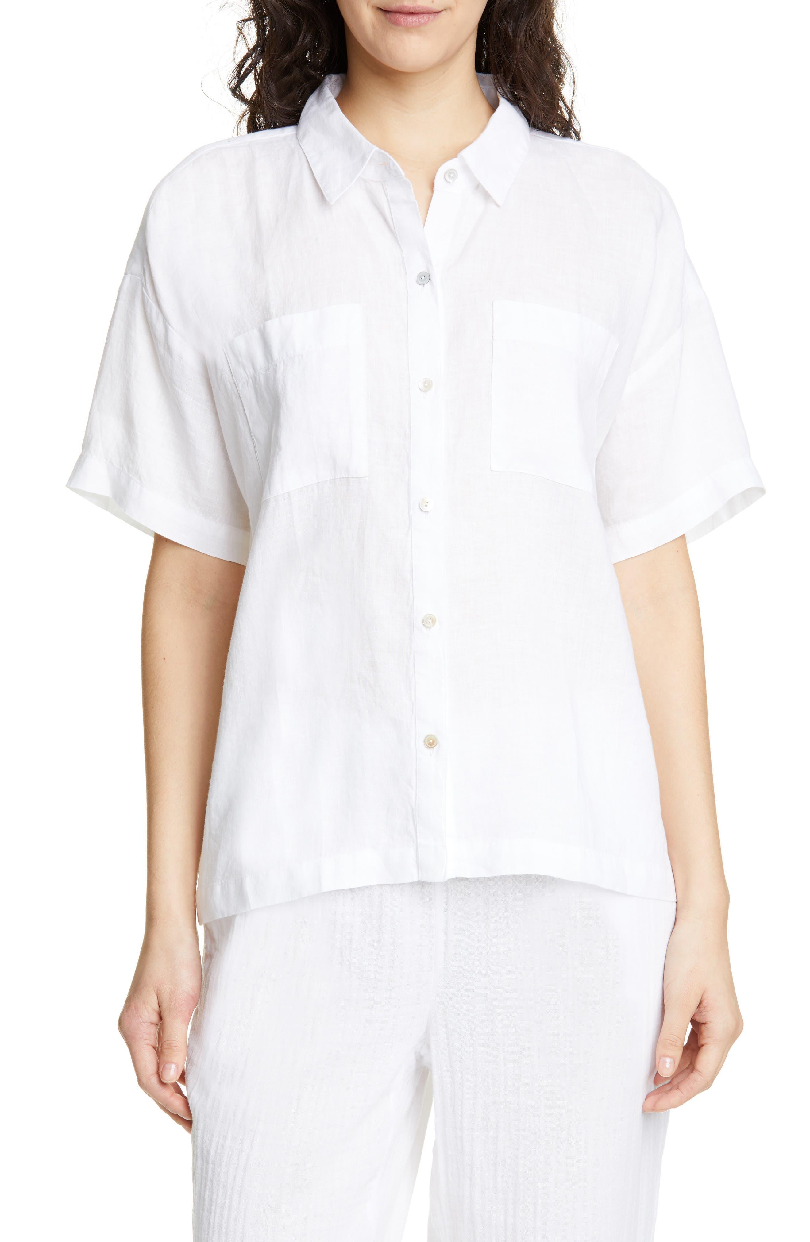 ,                             Organic Linen Shirt,                             Main thumbnail 1, color,                             WHITE