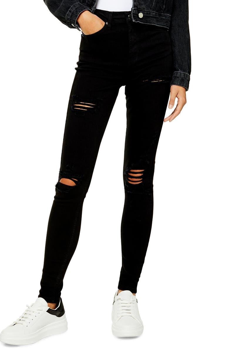 TOPSHOP Jamie Super Ripped Jeans, Main, color, BLACK