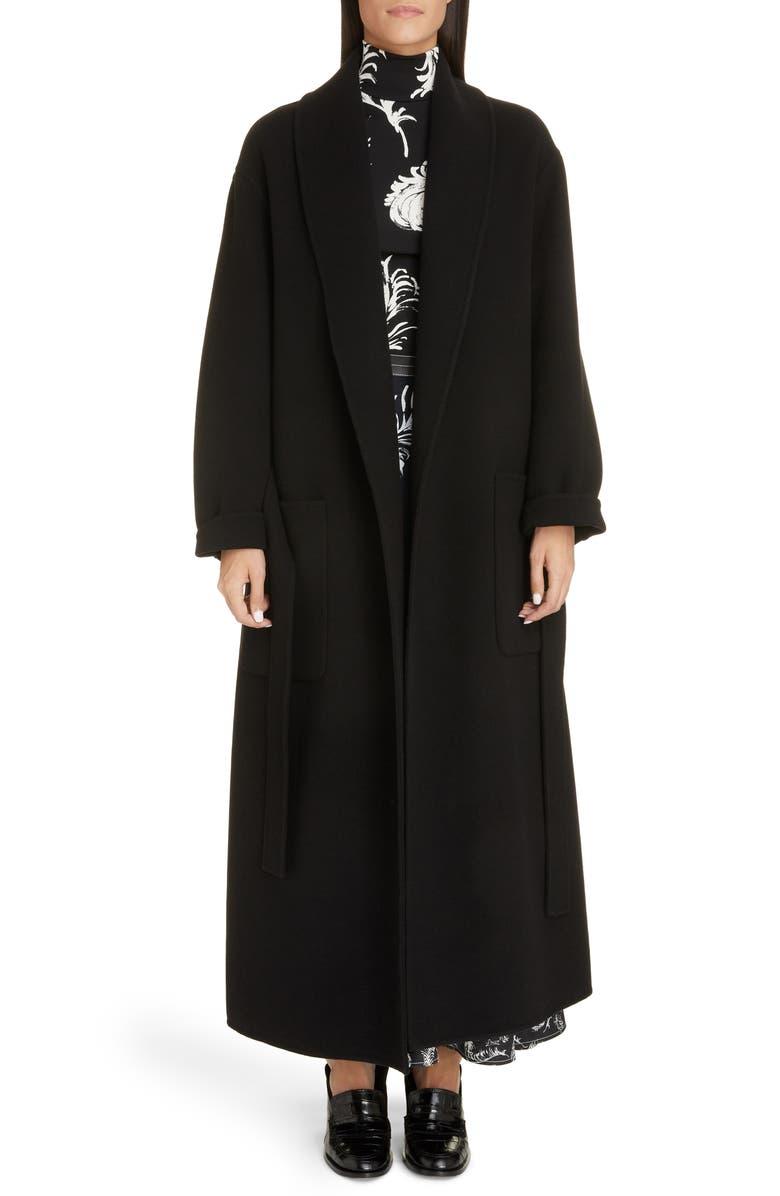 LOEWE Tie Belt Wool & Cashmere Coat, Main, color, BLACK
