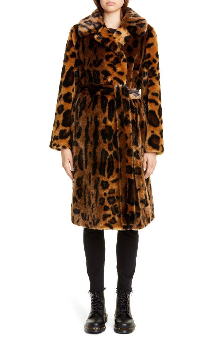STAND STUDIO Irina Leopard Print Faux Fur Coat, Main, color, ANIMAL PRINT/ YELLOW