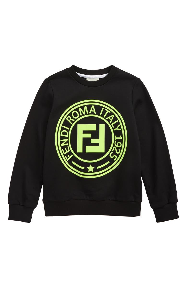 FENDI Logo Sweatshirt, Main, color, F0RX2 BLACK