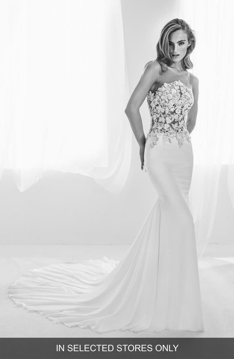 ATELIER PRONOVIAS Ralisa Embellished Mermaid Gown, Main, color, OFF WH/ CRST/ ND