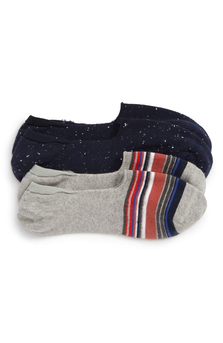 NORDSTROM MEN'S SHOP 2-Pack Liner Socks, Main, color, GREY/ NAVY