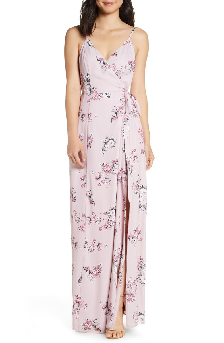 WAYF The Angelina Slit Wrap Gown, Main, color, NUDE ROSE FLORAL