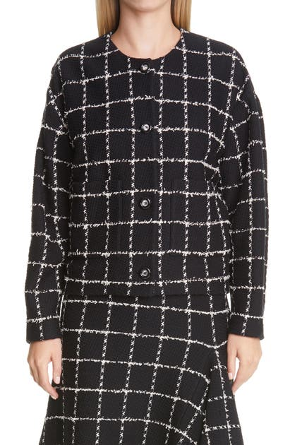 St. John EYELASH WINDOWPANE KNIT JACKET