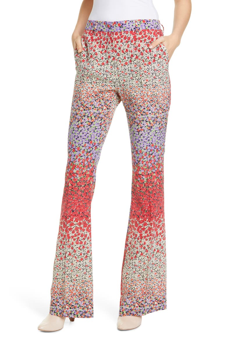 ETRO Dégradé Floral Print Silk Flare Pants, Main, color, RED