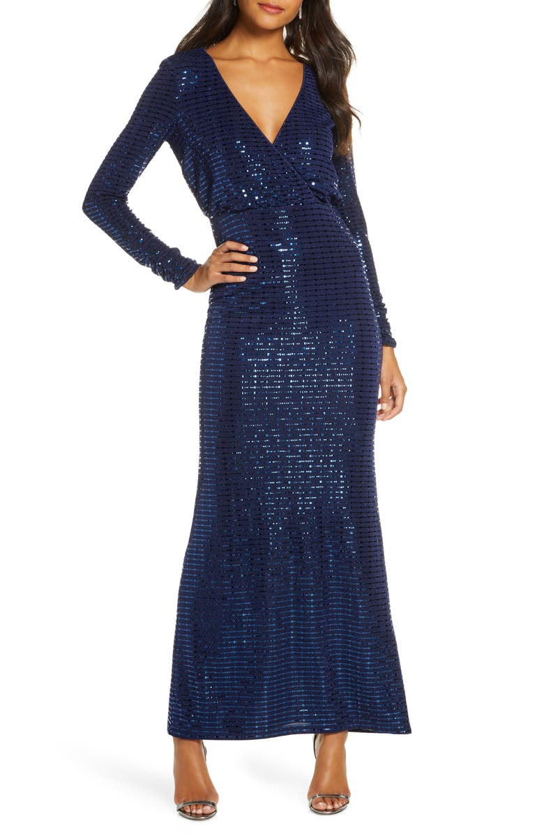 VINCE CAMUTO Sequin Stripe Long Sleeve Gown, Main, color, NAVY