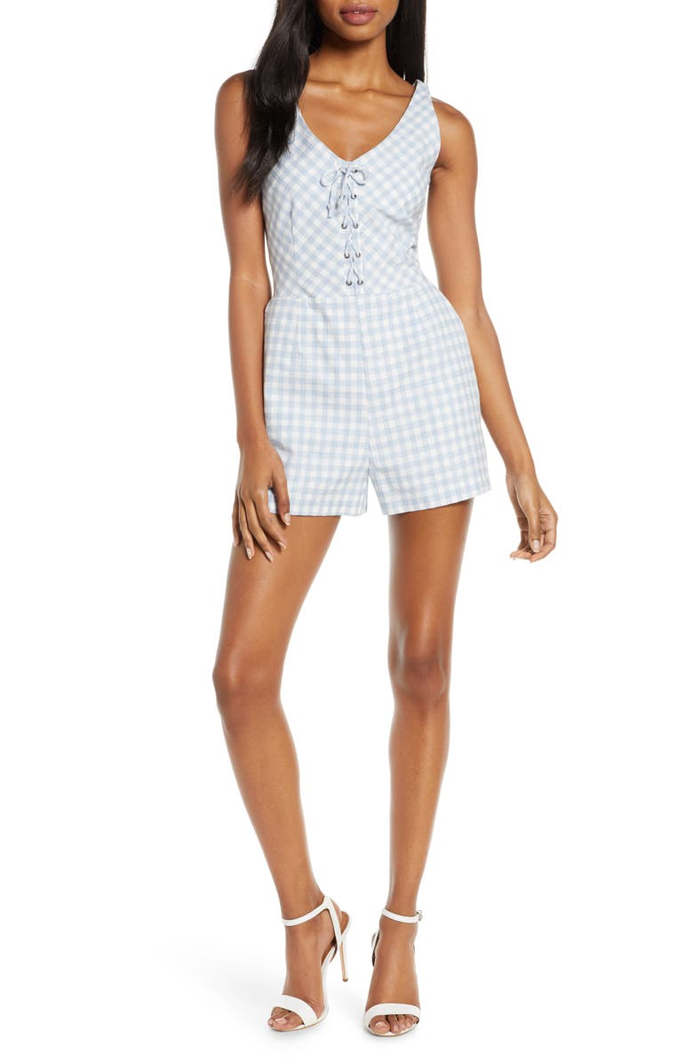 BB DAKOTA Sleeveless Gingham Romper, Main, color, SKY BLUE