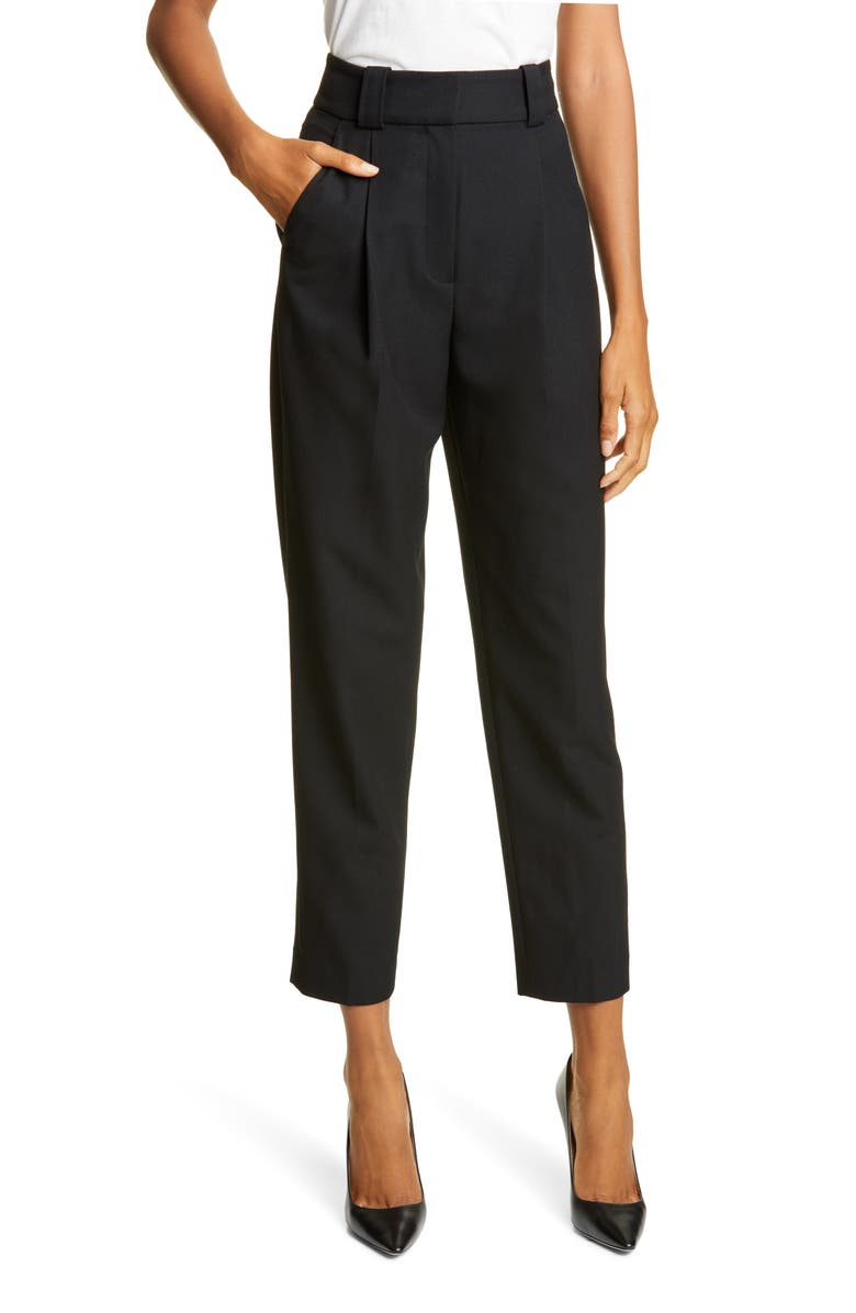 A.L.C. Colin Pleated Tapered Pants, Main, color, 001