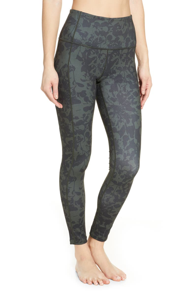 ZELLA Live In High Waist Pocket Ankle Performance Leggings, Main, color, GREEN ROSIN CAMO FLORAL PRINT