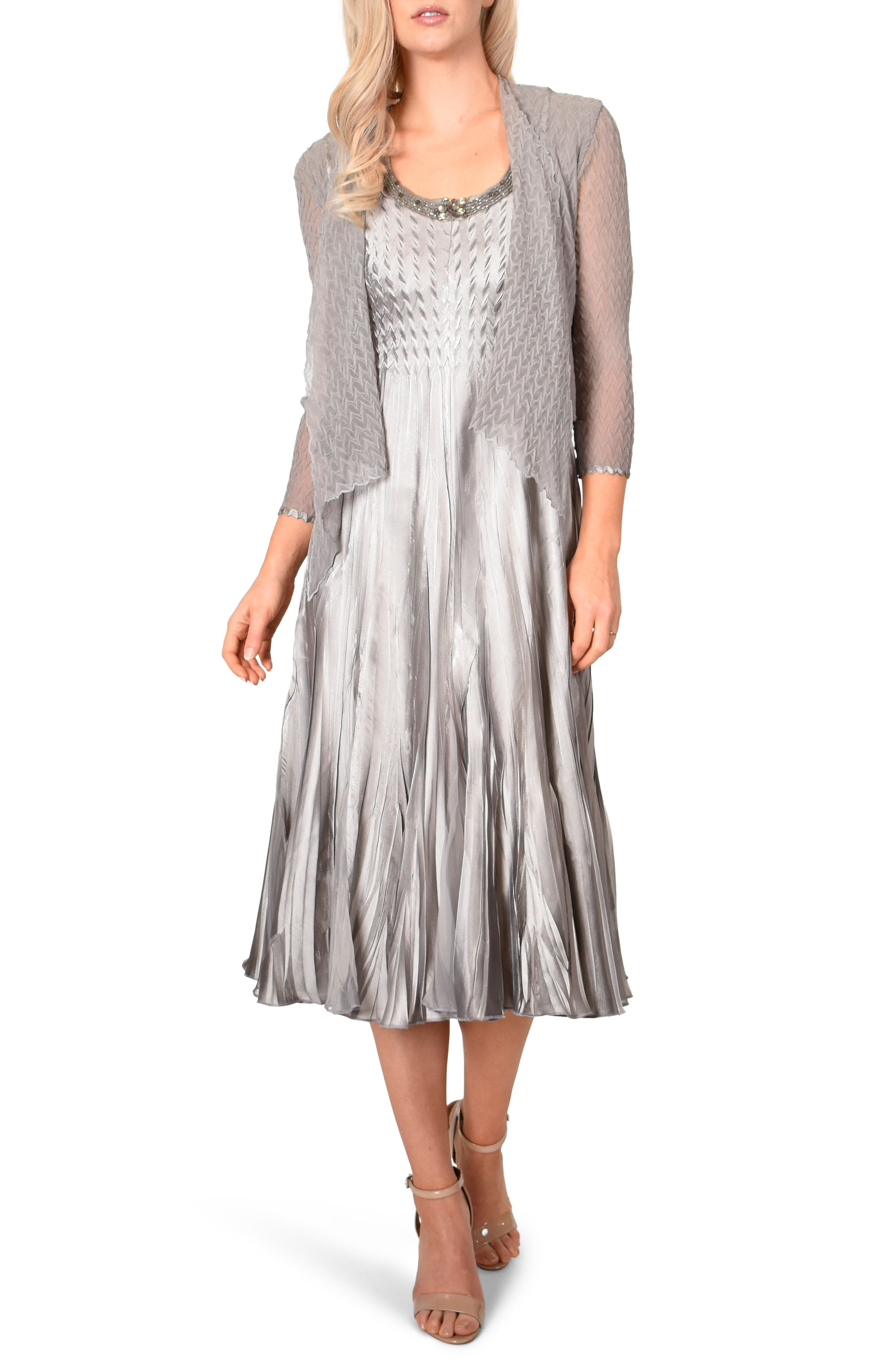 Komarov Beaded Neck Cocktail Dress & Jacket, Metallic