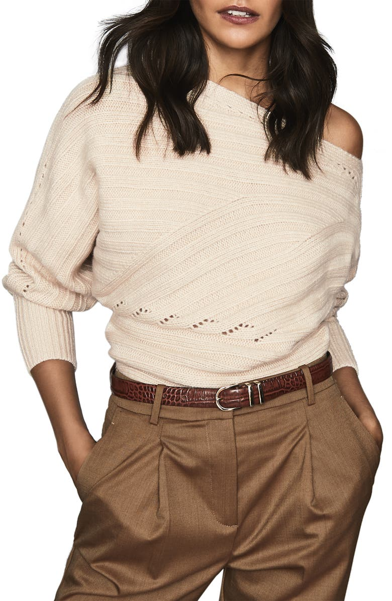 REISS Coco One-Shoulder Ribbed Sweater, Main, color, CAMEL