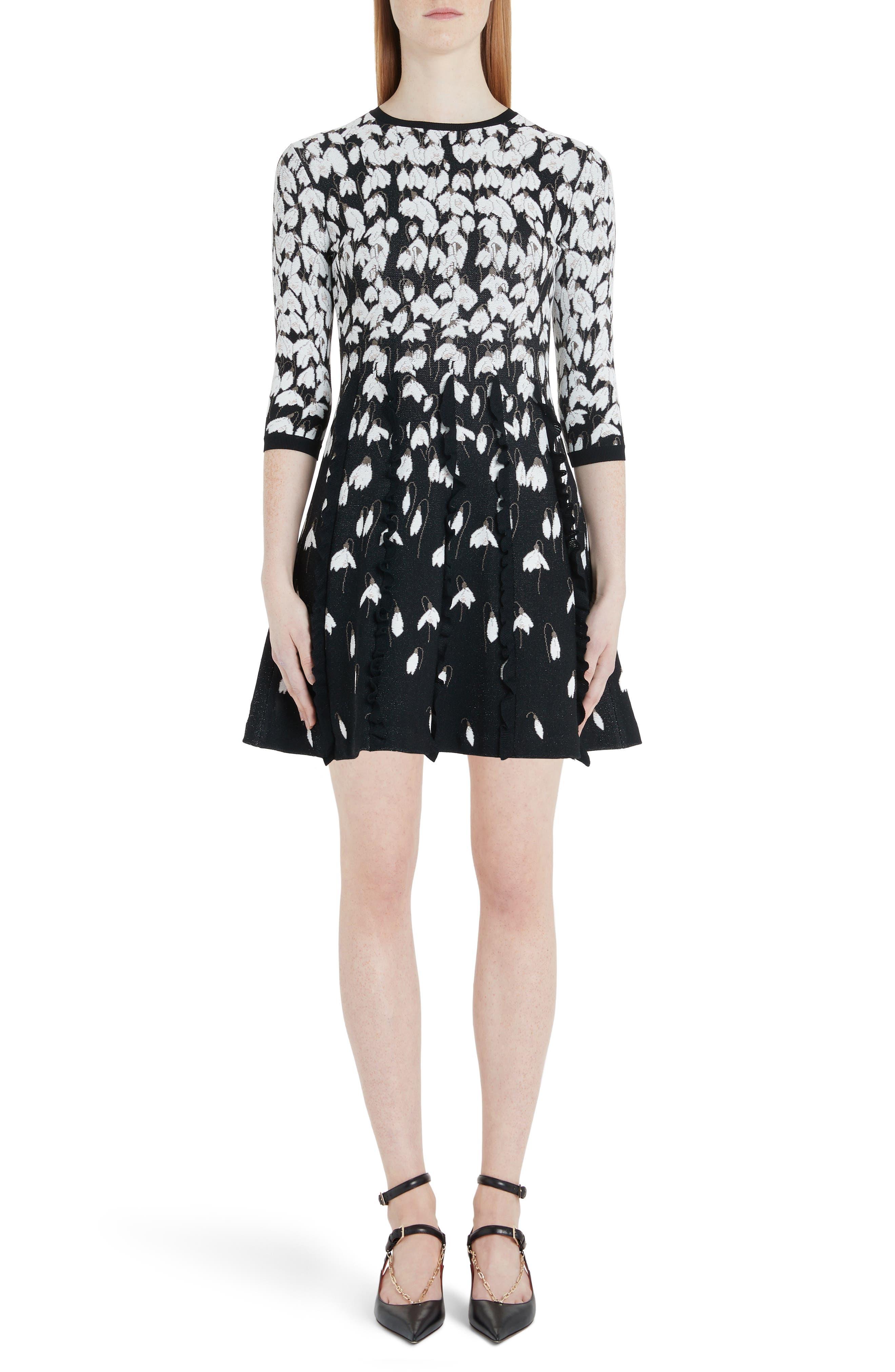Valentino Bucaneve Jacquard Sweater Dress, Black