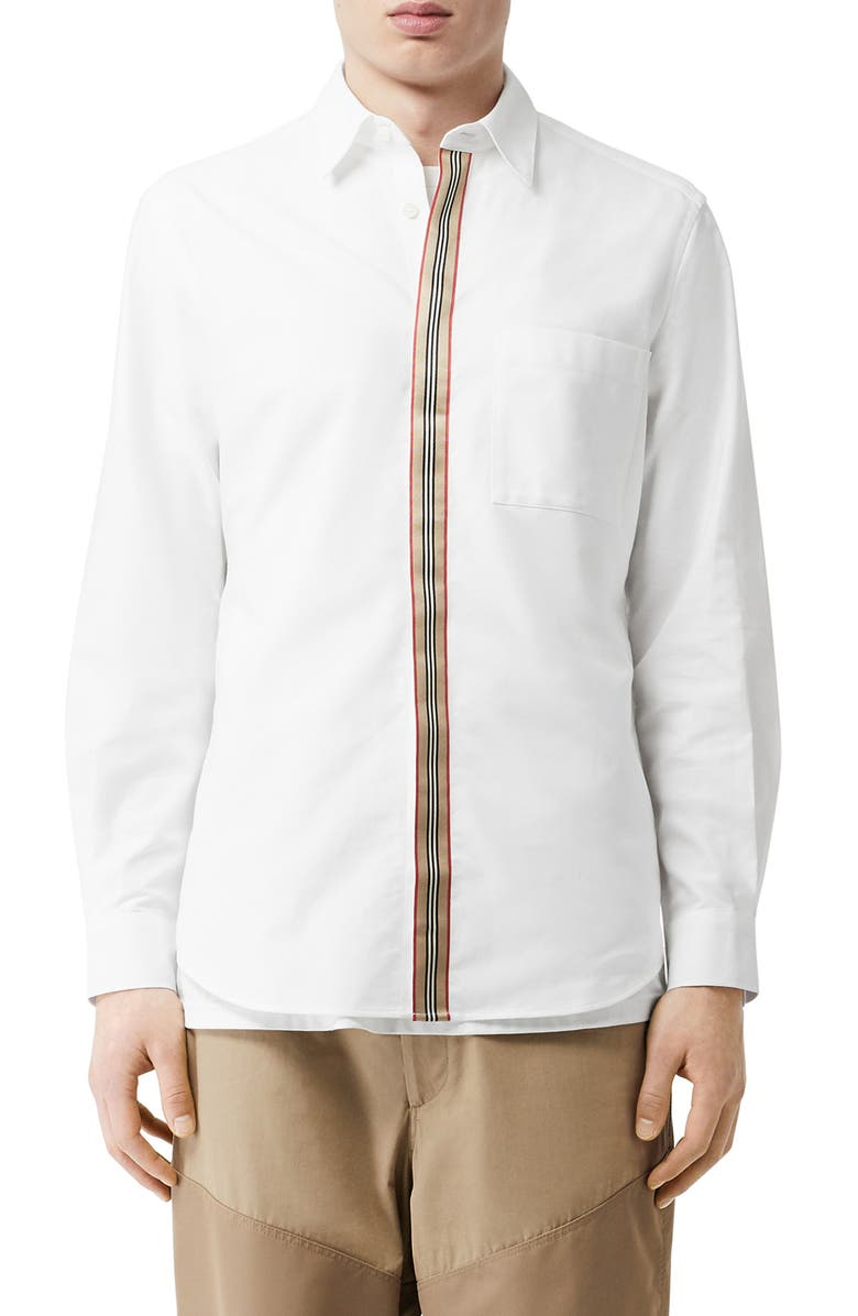 BURBERRY Icon Stripe Slim Fit Button-Up Shirt, Main, color, WHITE