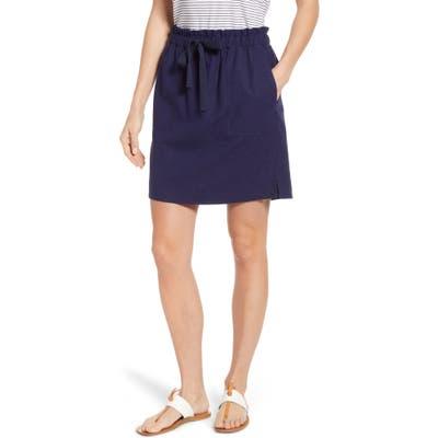 Petite Caslon Paperbag Waist Linen Blend Skirt, Blue