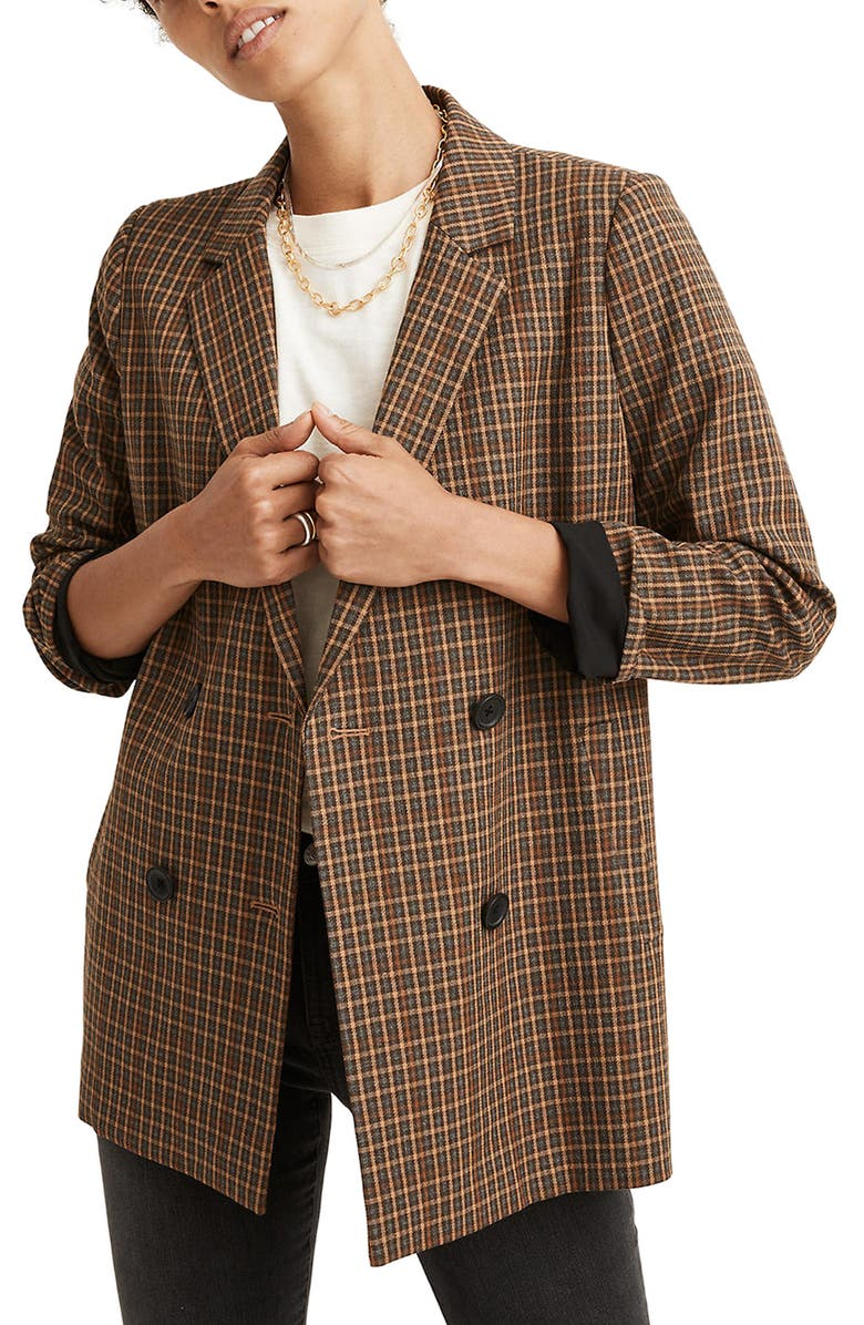 MADEWELL Caldwell Plaid Double Breasted Blazer, Main, color, GROVE HOUNDSTOOTH