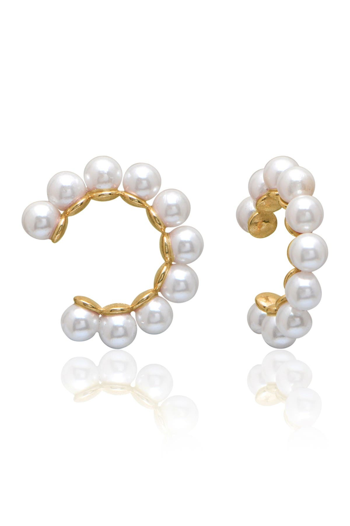 Image of Gabi Rielle 14K Yellow Gold Vermeil 3mm Pearl Trim Ear Cuffs
