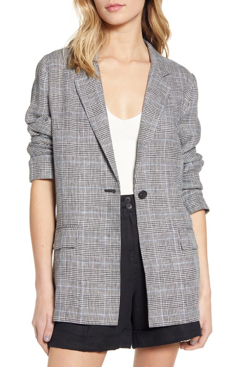 CHELSEA28 Single Button Linen Blazer, Main, color, BLACK- WHITE GRETCHEN PLAID