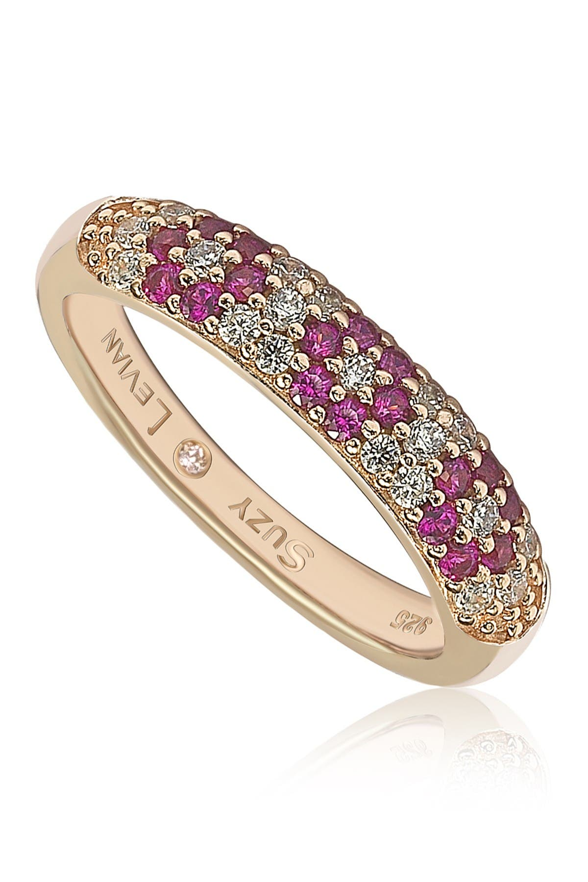 Image of Suzy Levian Rose-Tone Plated Sterling Silver Pave CZ Flower Band Ring