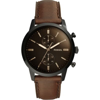 Fossil Townsman Chronograph Leather Strap Watch, 4m